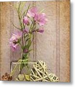 Van Gogh Style Digital Painting Beautiful Flower In Vase With Heart Still Life Love Concept Metal Print