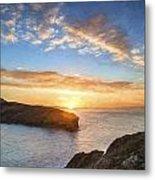 Van Gogh Style Digital Painting Beautiful Vibrant Sunrise Over Rocky Coastline Metal Print