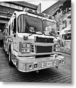 Vancouver Fire Rescue Services Truck Engine Outside Hall 2 In Downtown Eastside Bc Canada Metal Print