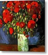 Vase With Red Poppies Metal Print