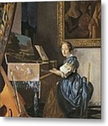 Vermeer, Johannes 1632-1675. A Young Metal Print