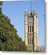 Victoria Tower And The Palace Of Westminster In London England Metal Print