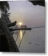 View Of Sunrise From The Window Of A Houseboat Metal Print