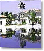 View Of The Cottages And Lagoon Water In Alleppey Metal Print