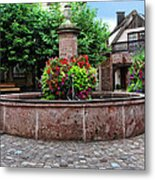 Village Fountain In Provence Metal Print