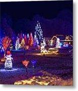 Village In Christmas Lights Panoramic View Metal Print