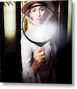 Vintage Archaeologist With Large Magnifying Glass Metal Print
