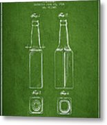 Vintage Beer Bottle Patent Drawing From 1934 - Green Metal Print