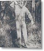 Vintage Black And White Horror Zombie Metal Print