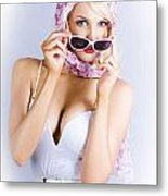 Vintage Blond Beauty In Pinup Fashion Accessories Metal Print