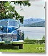 Vintage Blue Caddy At Lake George New York Metal Print