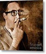 Vintage Business Man Smoking Money In Success Metal Print