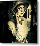 Vintage Explorer With Magnifying Glass Metal Print