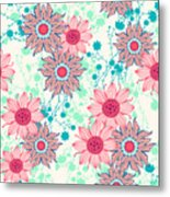 Vintage Flower Pattern Print For Metal Print