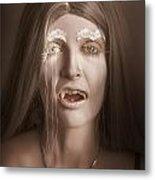 Vintage Halloween Portrait. Gothic Vampire Girl Metal Print