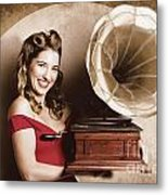 Vintage Pin-up Girl Listening To Record Player Metal Print