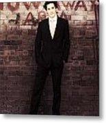 Vintage Salesman Standing In Front Of Brick Wall Metal Print