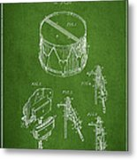 Vintage Snare Drum Patent Drawing From 1889 - Green Metal Print