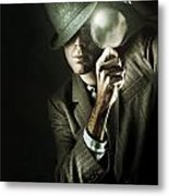 Vintage Undercover Spy On Dark Background Metal Print