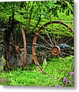 Vintage Wagon Wheel Gate Metal Print