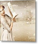 Vintage Woman Dreaming Of A Europe Travel Escape Metal Print