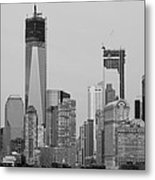 1 W T  C  And Lower Manhatten In Black And White Metal Print