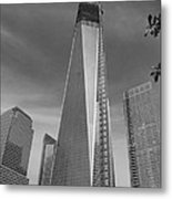 1 W T C And Museum In Black And White  Metal Print