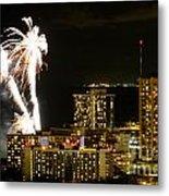 Waikiki Fireworks Metal Print