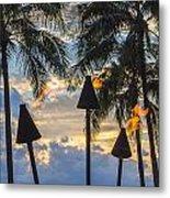 Waikiki Sunset Torches Metal Print