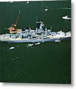 War Ship In New York Harbor, New York Metal Print