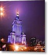 Warsaw Poland Downtown Skyline At Night Metal Print