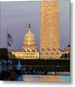 Washington D.c. - Us Flags With Cropped Metal Print