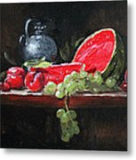 Watermelon And Plums Metal Print by Ellen Howell