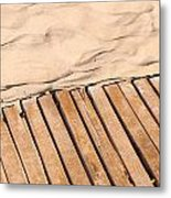 Weathered Wooden Boardwalk On Sand Metal Print