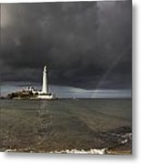 White Lighthouse Illuminated By Metal Print