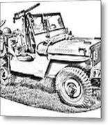 Willys World War Two Army Jeep Illustration Metal Print
