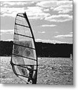 Wind Surfer Bw Metal Print