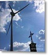 Wind Turbine And Cross Metal Print by Bernard Jaubert