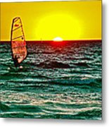 Windsurfer At Sunset On Lake Michigan From Empire-michigan  Metal Print