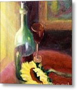 Wine And Sunflower Metal Print