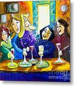 Wine Buddies The Last Call Metal Print by Angela Nuttle