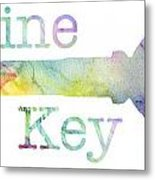 Wine Key Watercolor Metal Print