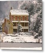 Winter Farm House Metal Print