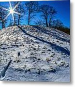 Winter Scinery In The Mountains With Bllue Sky And Sunshine Metal Print