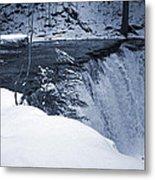 Winter Waterfall Snow Metal Print