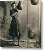 Woman Boxing Workout Metal Print