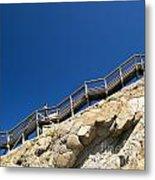 Woman Climbing Stairs Metal Print