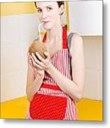 Woman Drinking Coconut Milk In Kitchen Metal Print