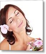 Woman Enjoying Dayspa Metal Print