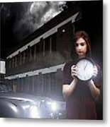 Woman Holding Clock Metal Print